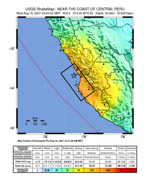 祕魯地震shake map