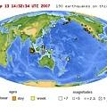 USGS全球地震分布圖