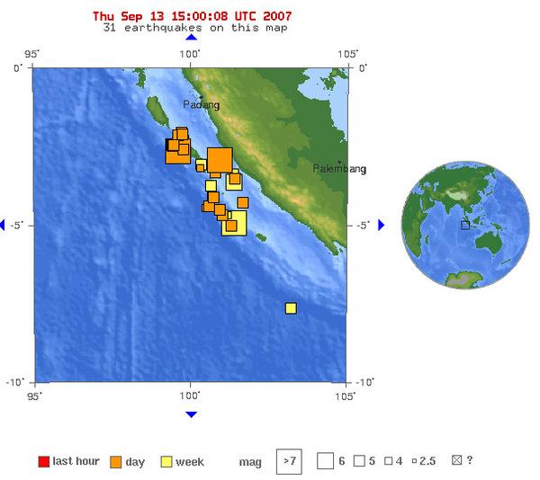 USGS印尼地震分布圖