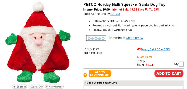 PETCO Holiday Multi Squeaker Santa Dog Toy page.jpg