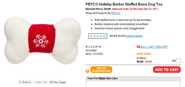 PETCO Holiday Berber Stuffed Bone Dog Toy page.jpg