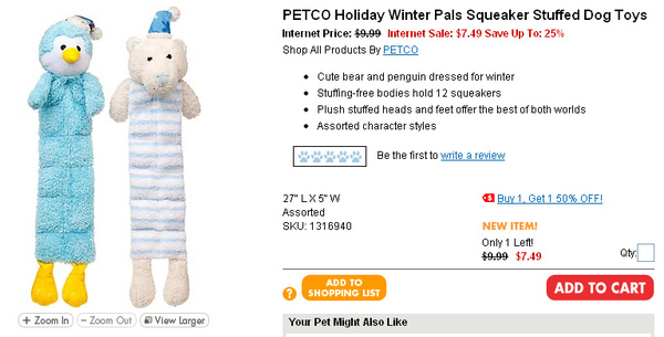 PETCO Holiday Winter Pals Squeaker Stuffed Dog Toys  page.jpg