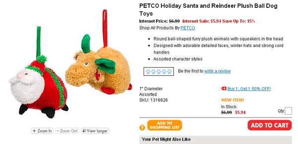 PETCO Holiday Santa and Reindeer Plush Ball Dog Toys  page.jpg