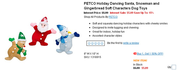 PETCO Holiday Dancing Santa, Snowman and Gingerbread Soft Characters Dog Toys  page.jpg