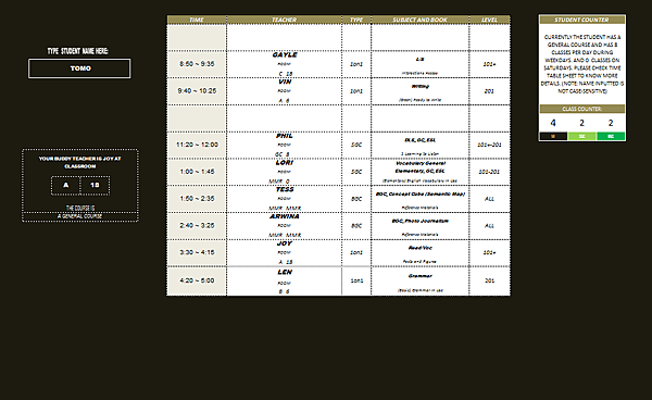 time schedule 2