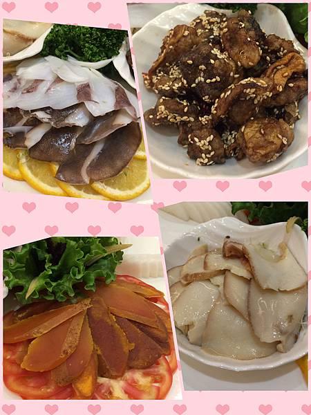 軟絲、蜜汁杏鮑菇、烏魚子墨魚鮑、