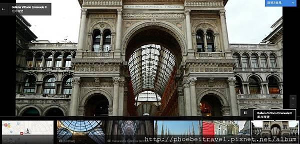 2013-05-30_從外到內_如果點入照片,更神奇的事情發生了。 每一張顯示的照片右下角都有個小小的圖例,會告知這張照片是單張照片或能做相片導覽功能。以下面兩個地方為例,如果點選相片導覽,會出現一連串具有邏輯的畫面拼接。  例如點選米蘭最著名的艾曼紐二世迴廊購物中心相片導覽,則會從外觀開始到裡面著名的金牛地標