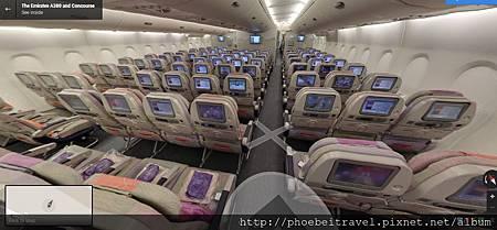 經濟艙3-4-3  經濟艙採3-4-3的座位配置,同時每人的座位都配備個人專屬電視