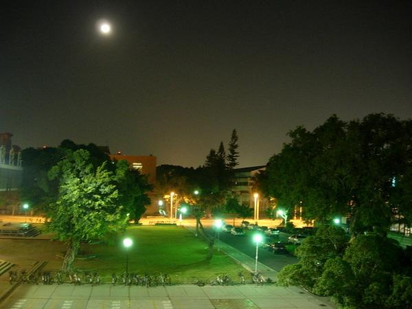 夜晚的成大校園一隅 2-與明月