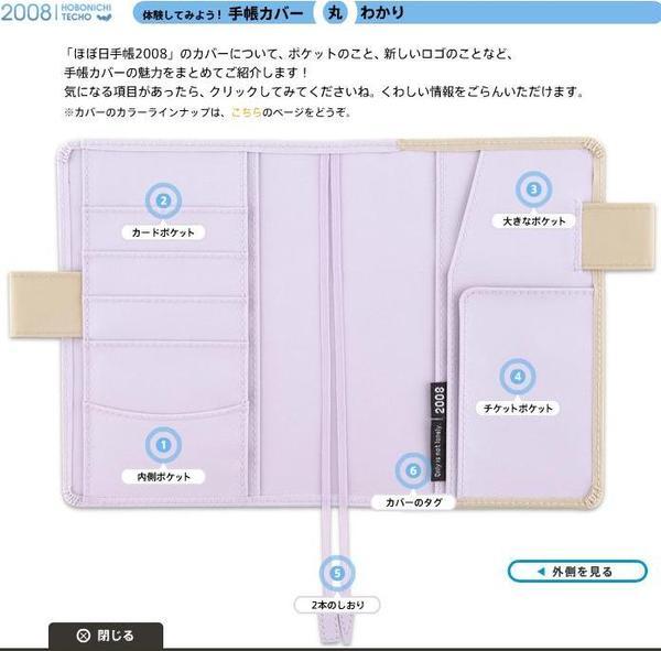 ほぼ日手帳2008 cover內部解說
