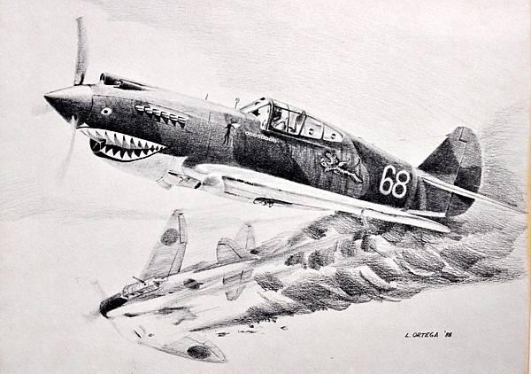P-40 Flying artwork I bought (3)