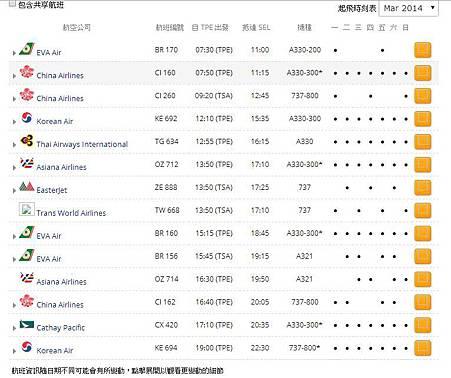 台北首爾航班表