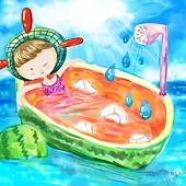今天,我【 好想在海裡泡西瓜浴】