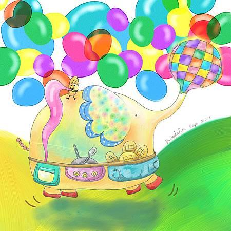 今天,我【吹好多個氣球要飛上天 】