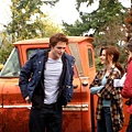 Rob、 Kristen 和導演Catherine Hardwicke在twilight片場