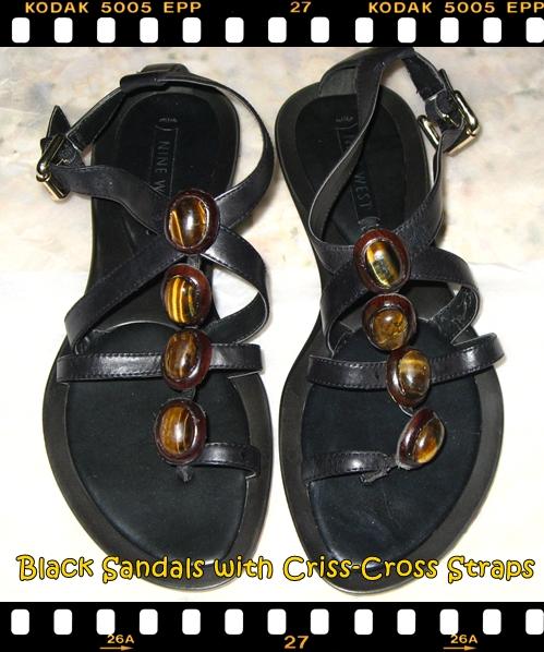 Nine West Black Sandals with Strap and Gem Details.JPG