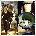 乞丐雕像! 他手裡的碗真的有錢耶!