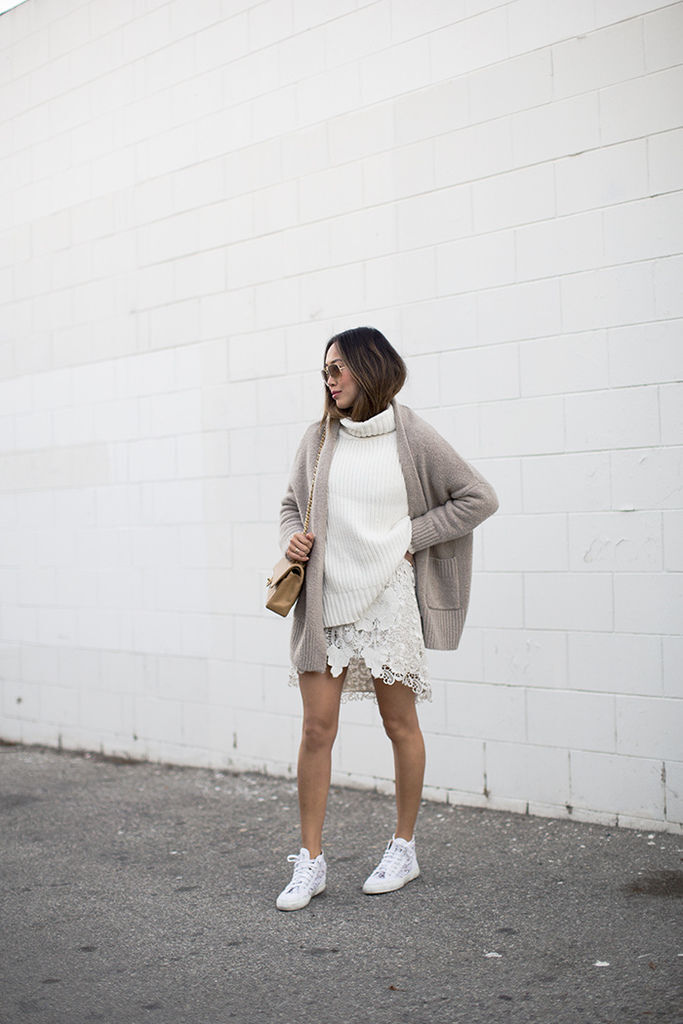 aimee_song_of_style_beige_cardigan_white_turtleneck_Sweater_lace_skirt_lace_superga_sneakers