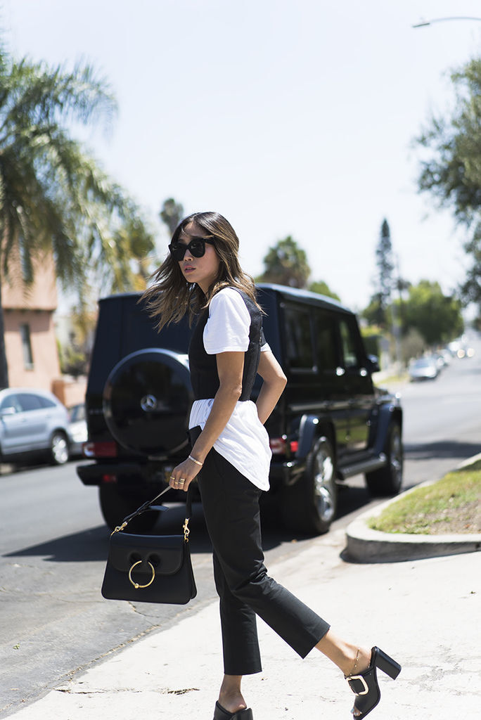 aimee_song_of_style_jw_anderson_bag_black_trousers_mules