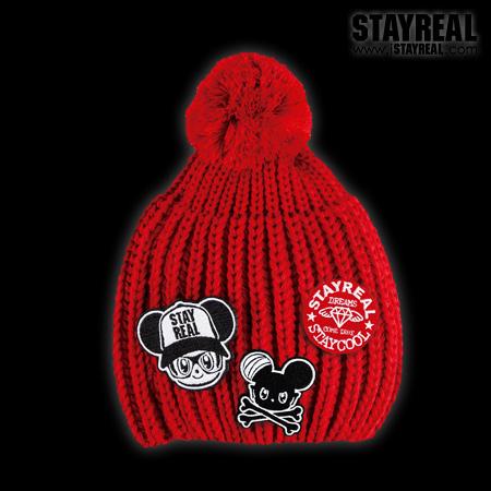 STAYREAL Pom Pom Beanie 球球毛帽(RED)-活動式布章設計