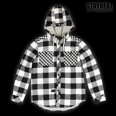 STAYREAL Warm Hooded Jacket 連帽暖暖外套(BlackXWhite)