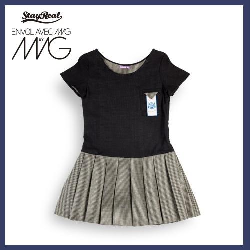 STAYREAL X Envol Avec Ning 淘氣黑白格女短袖百褶洋裝
