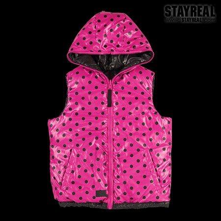 STAYREAL Dot Dot Down Vest 點點羽絨背心(blackXpink)-2