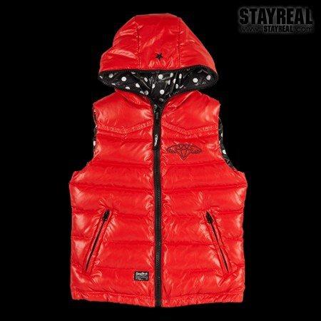 STAYREAL Dot Dot Down Vest 點點羽絨背心(redXblack)