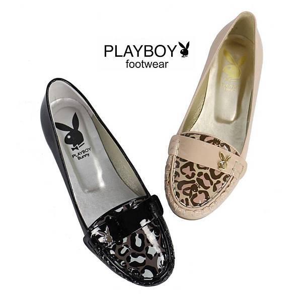 豹紋拼接設計金屬兔頭LOGO點綴復古莫卡辛鞋