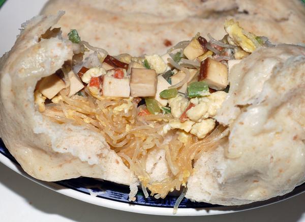 芹菜雞蛋菜包剖面