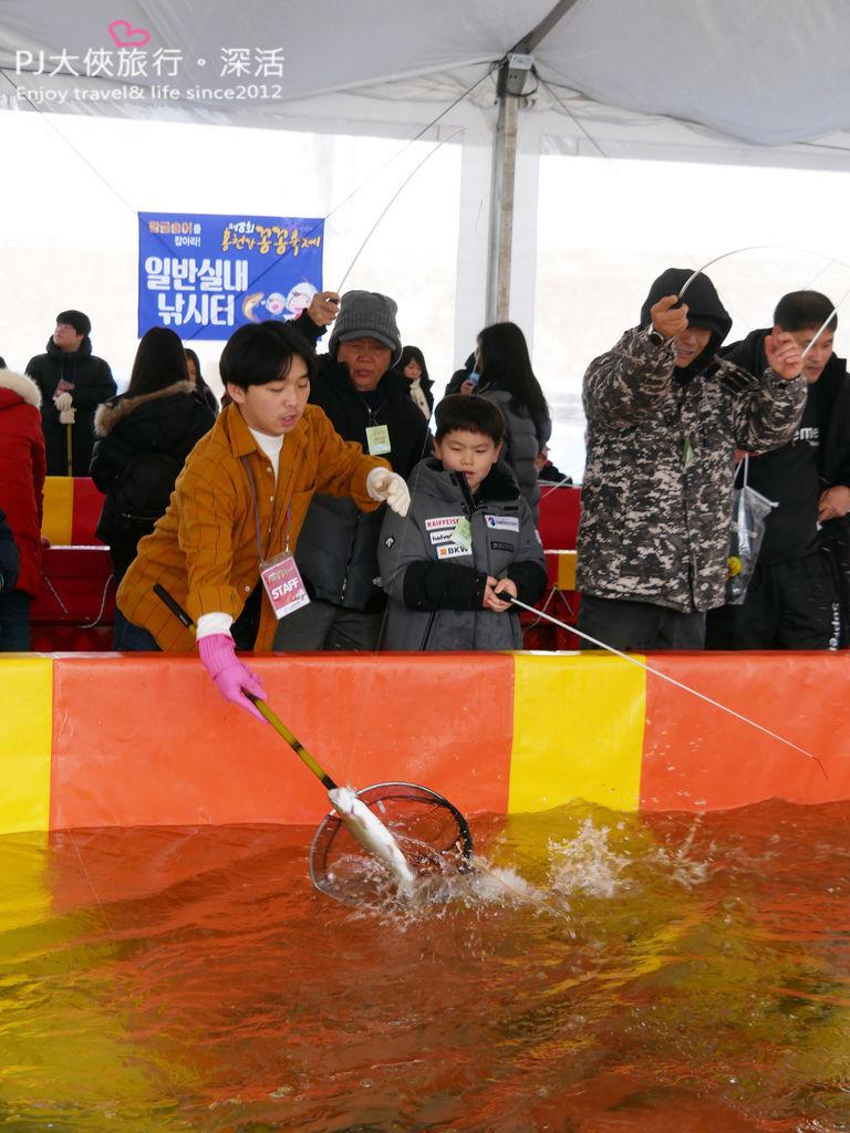 PJ大俠韓國首爾自由行自助旅遊華川冰釣節冰河上釣鱒魚節慶傳統