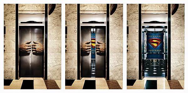 Superman-elevator-door-ad