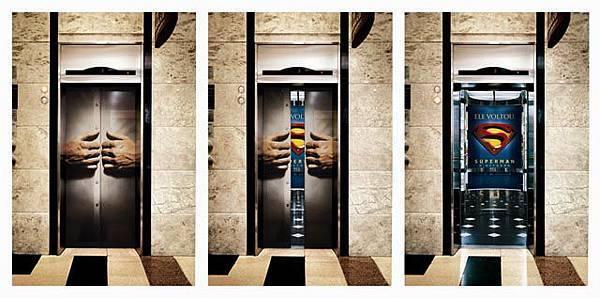 Superman-elevator-door-ad