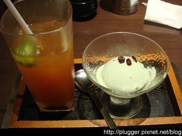 抹茶冰淇淋+水果冰茶