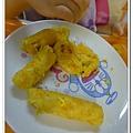父親節副食品-番薯蛋黃米餅+燙青花椰菜