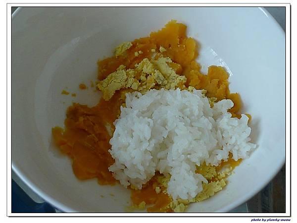 父親節副食品-番薯蛋黃米餅+燙青花椰菜 (5)