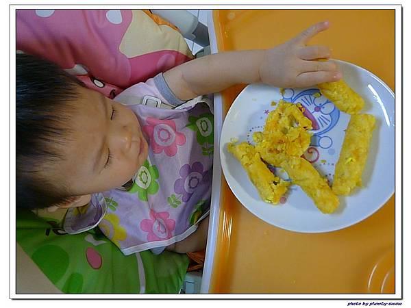 父親節副食品-番薯蛋黃米餅+燙青花椰菜 (16)