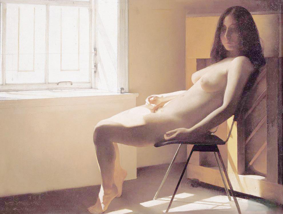 王沂東油畫窗前女人體--翻拍自畫冊拷貝