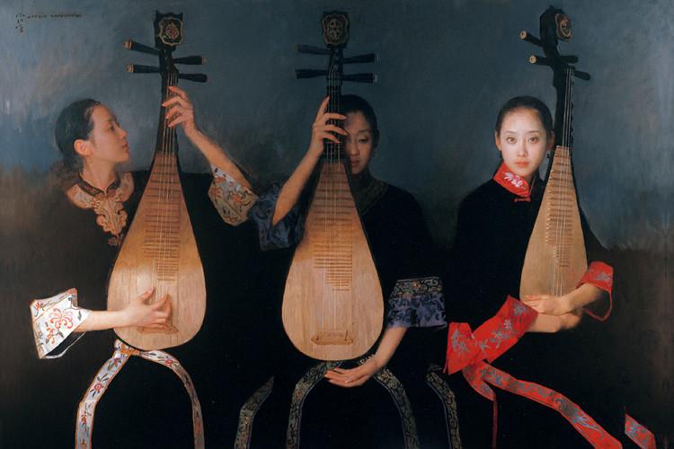 陳衍寧油畫《帷幕即將升起》2006年  122x178cm  (翻拍自網路)