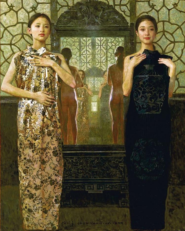 陳衍寧油畫《對影》1999年172X136cm (翻拍自網路)
