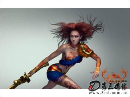 第三媒體遊戲頻道中的一款RPG《大唐無雙》,其宣傳海報由名模張藍心反串演繹人體彩繪隋唐名將--虬髯客。(翻拍自網路)