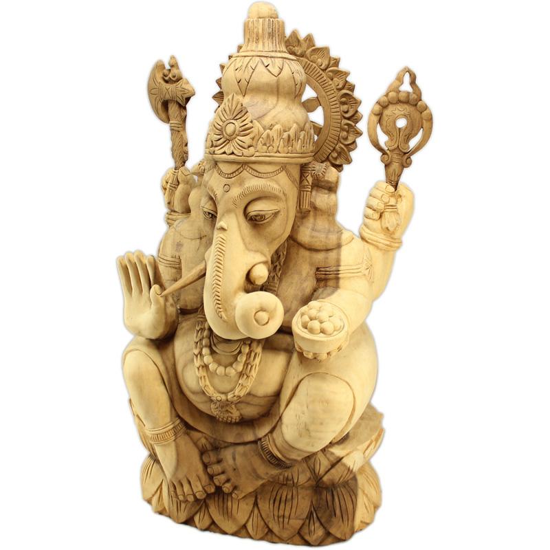 木雕象頭財神 (翻拍自網路)