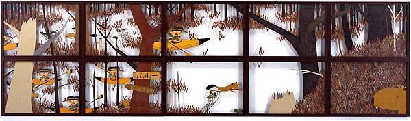 三宅信太郎Shintaro Miyake 海狸又來了Here Come Beavers Again 110 x 402.5 cm 2007 色鉛筆 鉛筆 紙板 Color pencil and pencil on cardboard