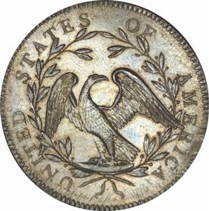 鑄造於1794的美國1元銀幣背面,2013年紐約的拍賣市價1千萬美元