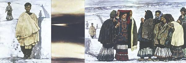 程叢林《迎親的人們‧送葬的人們》200x3050cmx2油彩畫布(1990)(局部)