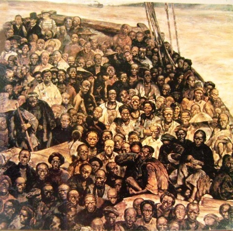 程叢林《華工船》185x185cm油彩畫布 (1984)