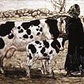 程叢林《阿咪子和牛》80x122cm油彩畫布(1987)