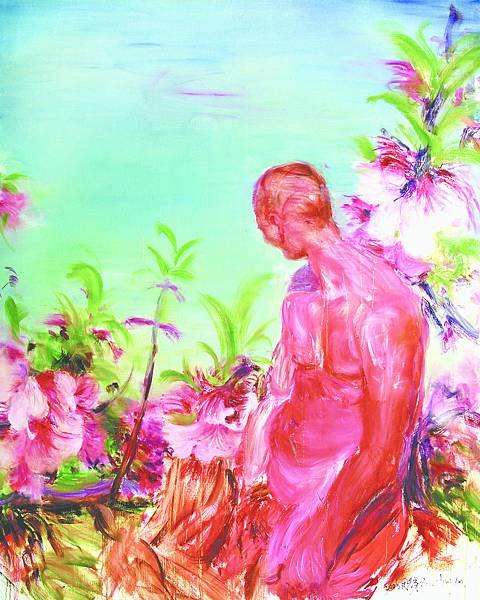 周春芽《坐着看花》250x200cm油彩畫布 (2006)