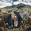 張曉剛《山的女兒》 146x157cm (1984)