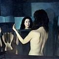 極少數的川美派女畫家之一楊千(b.1959) 的油畫《無題》 106x147cm ( 1995)。楊千被認為是「嚴肅的實驗型藝術家」,她非常在乎「藝術語言如何忠實表達自己的思想」。